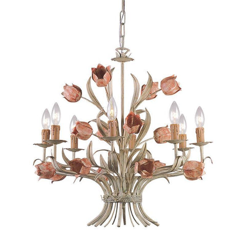 Crystorama 4808-SR 8-Lights Southport Handpainted Wrought Iron Chandelier - Sage/Rose - PeazzLighting