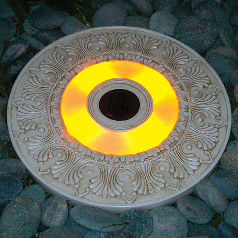 "HomeBrite 30843 13"" Solar Stepping Stone - Round White Wash Color - Set of 3 - PeazzLighting"