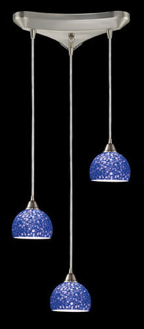 ELK Lighting 10143-3Pb Cira Three Light Pendant In Satin Nickel And Pebbled Blue Glass - PeazzLighting