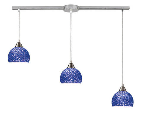 ELK Lighting 10143-3L-Pb Cira Three Light Pendant In Satin Nickel And Pebbled Blue Glass - PeazzLighting