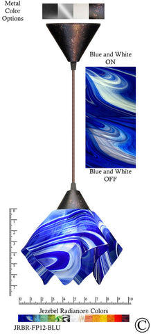 Jezebel Radiance Flame Pendant Small - Hardware Brown - Glass Blue And White - PeazzLighting
