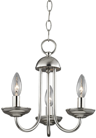 Cornerstone 1523CH/20 Williamsport 3 Light Mini Chandelier In Brushed Nickel - PeazzLighting