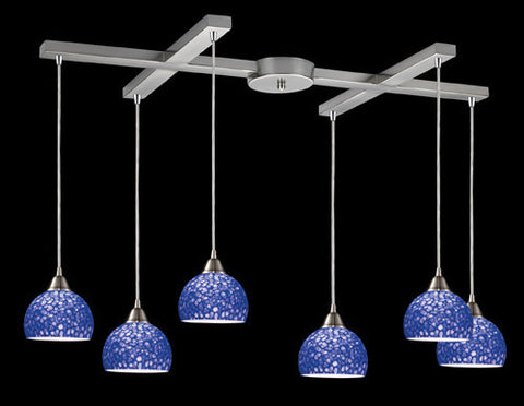 ELK Lighting 10143-6Pb Cira Six Light Pendant In Satin Nickel And Pebbled Blue Glass - PeazzLighting