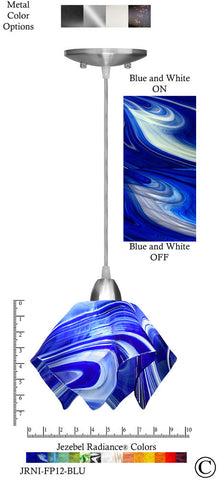 Jezebel Radiance Flame Pendant Small - Hardware Nickel - Glass Blue And White - PeazzLighting