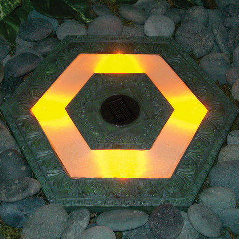 "HomeBrite 30842 13"" Solar Stepping Stone - Hexagon Garden Green Color - Set of 3 - PeazzLighting"