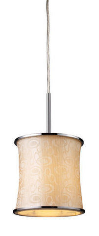 ELK Lighting 20024-1 Fabrique One Light Drum Pendant In Polished Chrome And Retro Beige Shade - PeazzLighting