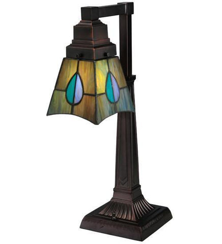 "Meyda Tiffany 27637 19.5""H Mackintosh Leaf Desk Lamp - PeazzLighting"