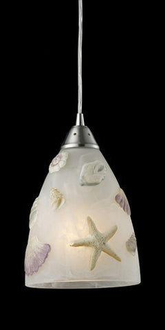 ELK Lighting 20000-1 Seashore One Light Pendant In Satin Nickel - PeazzLighting