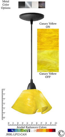 Jezebel Radiance Lily Pendant Small - Hardware Black - Glass Canary Yellow - PeazzLighting