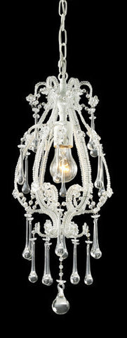 ELK Lighting 12003-1Cl Opulence One Light Pendant In Antique White And Clear Crystals - PeazzLighting