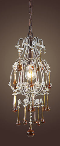 ELK Lighting 12013-1Amb Opulence One Light Pendant In Rust And Amber Crystals - PeazzLighting