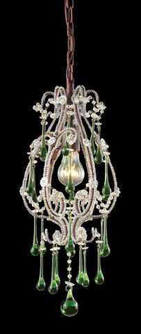 ELK Lighting 12013-1Lm Opulence One Light Pendant In Rust And Lime Crystals - PeazzLighting