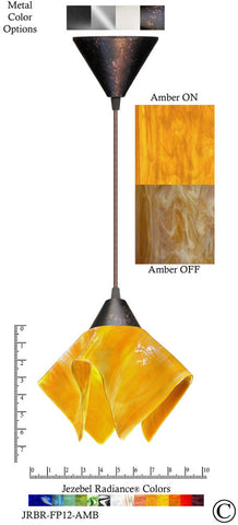 Jezebel Radiance Flame Pendant Small - Hardware Brown - Glass Amber Gold Yellow - PeazzLighting