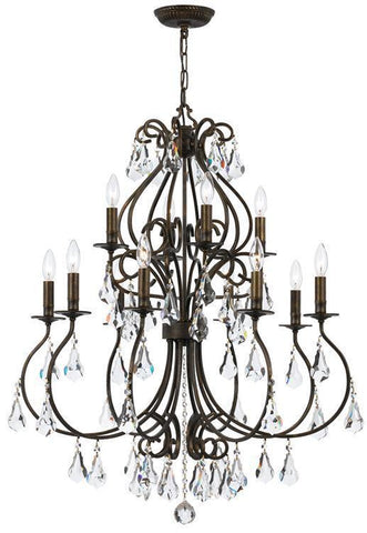 Crystorama 5017-EB-CL-MWP Ashton 12 Light Hand Cut Crystal Bronze Chandelier - PeazzLighting
