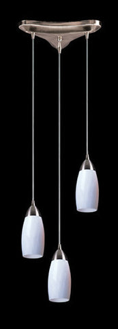 ELK Lighting 110-3Wh Three Light Pendant In Satin Nickel And Simply White Glass - PeazzLighting