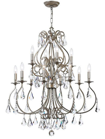 Crystorama 5017-OS-CL-MWP Ashton 12 Light Hand Cut Crystal Silver Chandelier - PeazzLighting