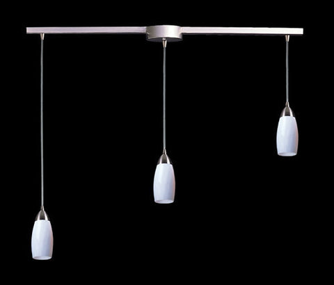 ELK Lighting 110-3L-Wh Three Light Pendant In Satin Nickel And Simply White Glass - PeazzLighting