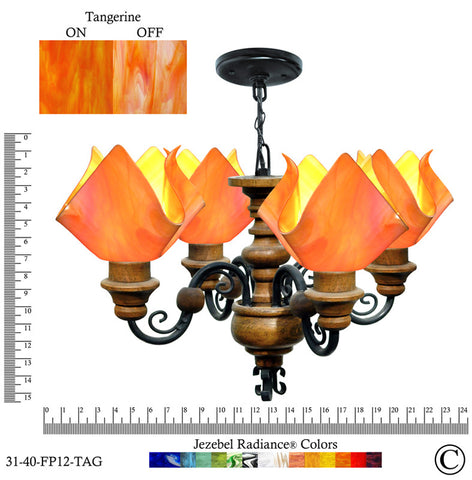 Jezebel Radiance® Flame Vineyard Chandelier. Glass: Tangerine - PeazzLighting