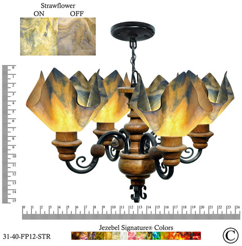 Jezebel Signature® Flame Vineyard Chandelier. Glass: Strawflower - PeazzLighting