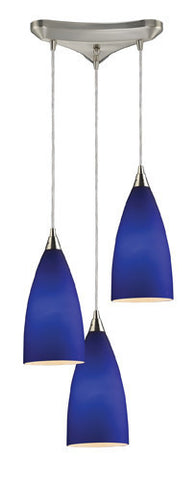 ELK Lighting 2581-3 Vesta Three Light Pendant In Royal Blue In Satin Nickel - PeazzLighting