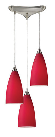 ELK Lighting 2583-3 Vesta Three Light Pendant In Cardinal Red In Satin Nickel - PeazzLighting