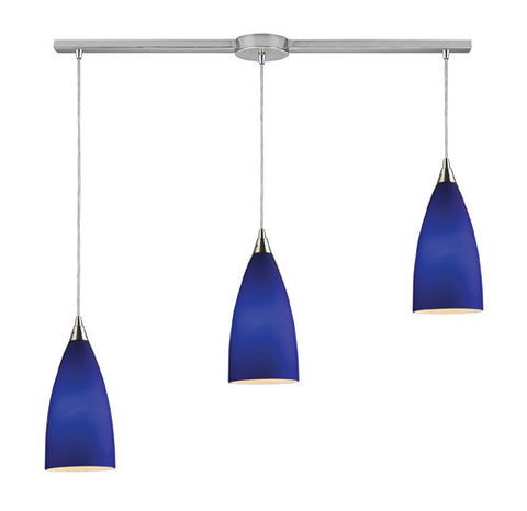 ELK Lighting 2581-3L Vesta Three Light Linear Pendant In Royal Blue In Satin Nickel - PeazzLighting