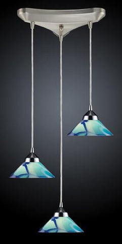 ELK Lighting 1477-3Car Three Light Pendant In Polished Chrome And Carribean Glass - Peazz.com