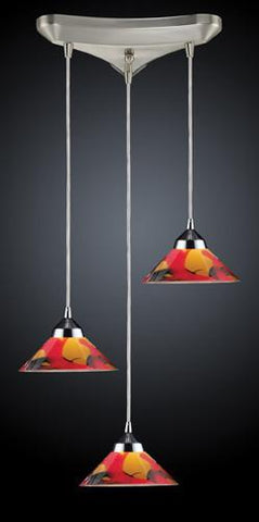 ELK Lighting 1477-3Jas Three Light Pendant In Polished Chrome And Jasper Glass - Peazz.com