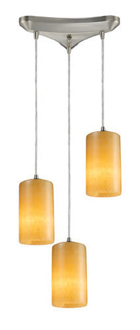 ELK Lighting 10169-3 Coletta Three Light Genuine Stone Pendant In Satin Nickel - PeazzLighting