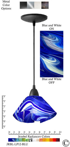 Jezebel Radiance Lily Pendant Small - Hardware Black - Glass Blue And White - PeazzLighting