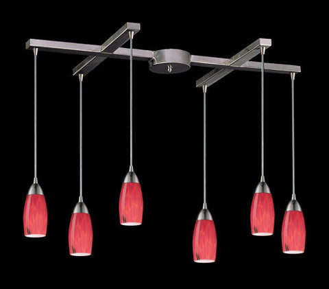 ELK Lighting 110-6Fr Six Light Pendant In Satin Nickel And Fire Red Glass - PeazzLighting