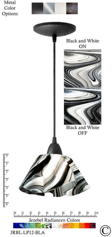 Jezebel Radiance Lily Pendant Small - Hardware Black - Glass Black And White - PeazzLighting