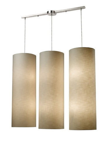 ELK Lighting 20160-12L Fabric Cylinder 1Two Lightlinear Pendant In Satin Nickel - PeazzLighting