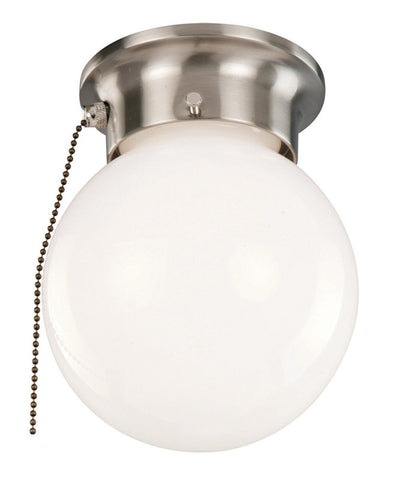 Design House 519272 1Lt Globe Ceiling Mount With Pull Chain Satin Nickel - PeazzLighting