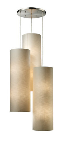 ELK Lighting 20160-12R Fabric Cylinder 1Two Light Round Pendant In Satin Nickel - PeazzLighting