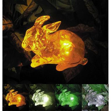 "HomeBrite 30854 7"" Clear Crystallike Solar Rabbit - PeazzLighting"