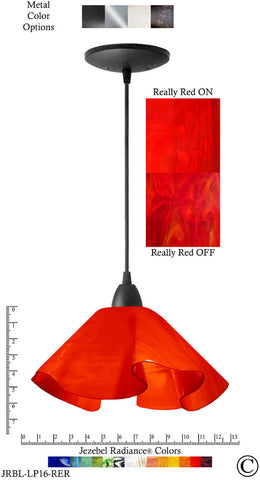 Jezebel Radiance Lily Pendant Large - Hardware Black - Glass Really Cherry Red - PeazzLighting