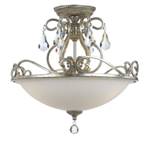 Crystorama 5010-OS-CL-MWP Ashton 3 Light Hand Cut Crystal Silver Ceiling Mount - PeazzLighting