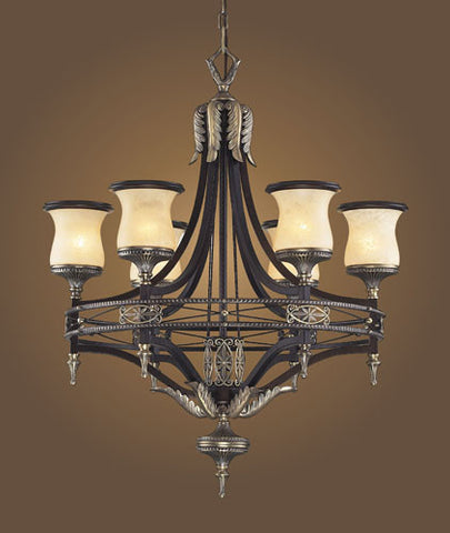 ELK Lighting Lighting 2431-6 Six Light Chandelier In Antique Bronze & Dark Umber And Marblized Amber Glass - PeazzLighting