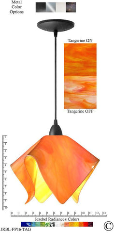 Jezebel Radiance Flame Pendant Large - Hardware Black - Glass Tangerine Orange - PeazzLighting