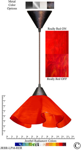 Jezebel Radiance Lily Pendant Large - Hardware Brown - Glass Really Cherry Red - PeazzLighting