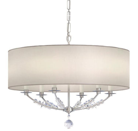 Crystorama 8006-PN Mirage 6 Light Nickel Drum Shade Chandelier - PeazzLighting