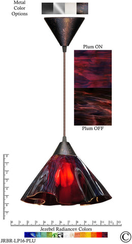 Jezebel Radiance Lily Pendant Large - Hardware Brown - Glass Purple Violet Plum - PeazzLighting