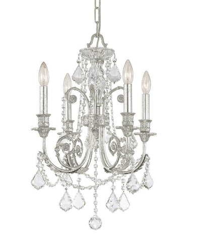 Crystorama Clear Swarovski Spectra Crystal Wrought Iron Chandelier 4 Lights - Olde Silver - 5114-OS-CL-SAQ - PeazzLighting