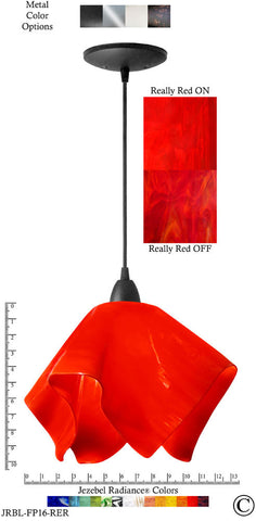 Jezebel Radiance Flame Pendant Large - Hardware Black - Glass Really Cherry Red - PeazzLighting
