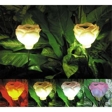 HomeBrite 30849 Solar Roses Set of 4 - PeazzLighting