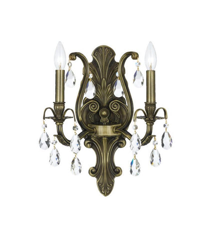 Crystorama 5563-AB-CL-MWP 2-Lights Clear Cut Crystal Wall Mount - Antique Brass - PeazzLighting