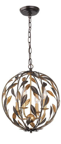 Crystorama 504-EB-GA Broche 4 Light Bronze Sphere Mini Chandelier - PeazzLighting