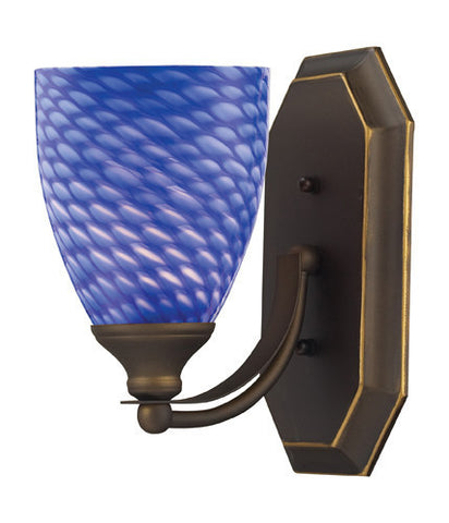 ELK Lighting 570-1B-S One Light Vanity In Aged Bronze And Sapphire Glass - PeazzLighting
