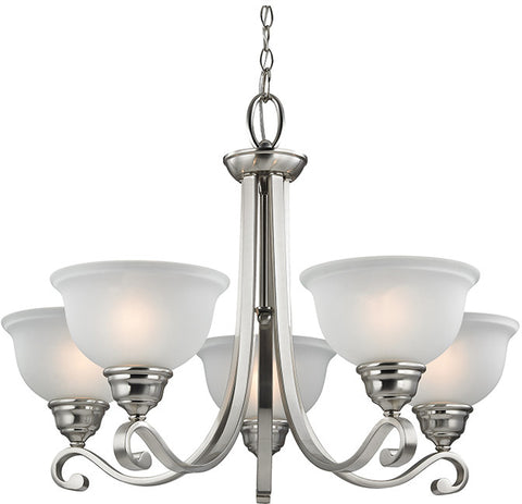 Cornerstone 2305CH/20 Hamilton 5 Light Chandeier In Brushed Nickel - PeazzLighting